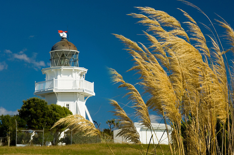 Katiki Point Lighthouse near Moeraki village, Coastal Otago, South Island