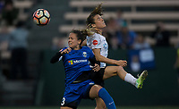 Seattle, WA - Saturday July 22, 2017: Lauren Barnes, Kelley O'Hara during a regular season National Women's Soccer League (NWSL) match between the Seattle Reign FC and Sky Blue FC at Memorial Stadium.