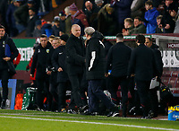 30th November 2019; Turf Moor, Burnley, Lanchashire, England; English Premier League Football, Burnley versus Crystal Palace; Burnley manager Sean Dyche and Crystal Palace manager Roy Hodgson shake hands at the final wislte after Crystal Palace ran out 2-0 winners - Strictly Editorial Use Only. No use with unauthorized audio, video, data, fixture lists, club/league logos or 'live' services. Online in-match use limited to 120 images, no video emulation. No use in betting, games or single club/league/player publications