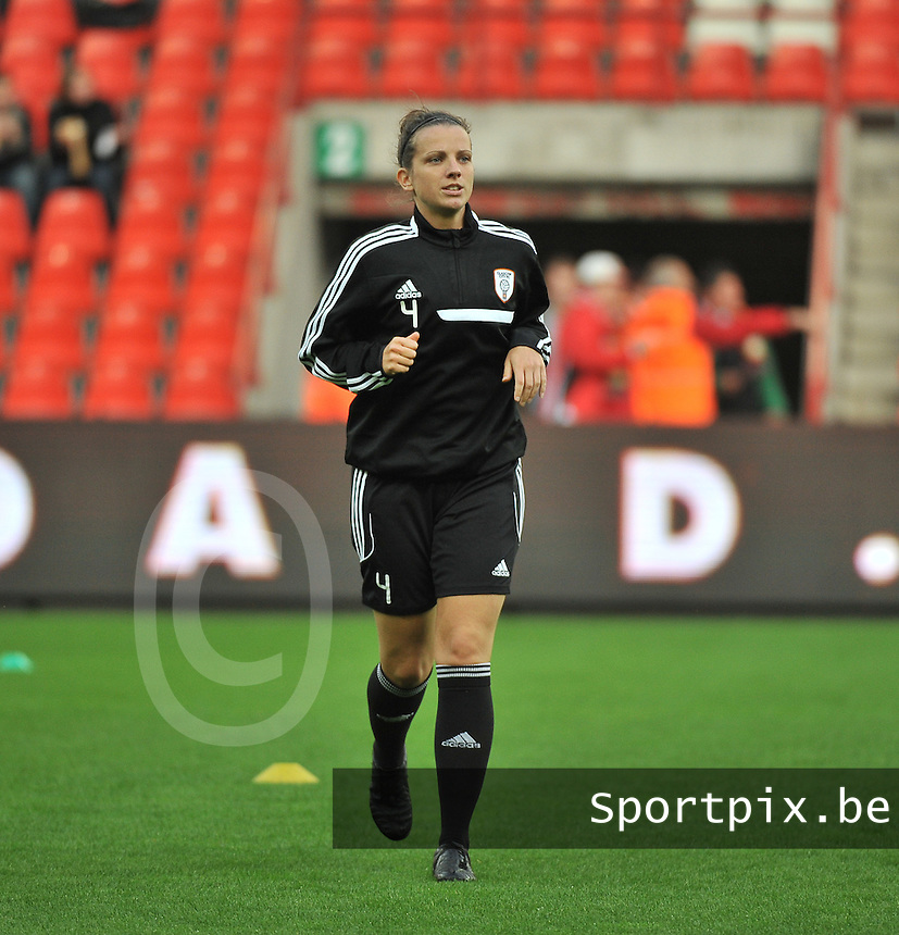 20131009 - LIEGE , BELGIUM : Glasgow Danielle Pagliarulo pictured during the female soccer match between STANDARD Femina de Liege and  GLASGOW City LFC , in the 1/16 final ( round of 32 ) first leg in the UEFA Women's Champions League 2013 in stade maurice dufrasne - Sclessin in Liege. Wednesday 9 October 2013. PHOTO DAVID CATRY