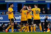2nd February 2019, Goodison Park, Liverpool, England; EPL Premier League Football, Everton versus Wolverhampton Wanderers; Wolverhampton Wanderers celebrate after Leander Dendoncker puts them 3-1 up after 66 minutes