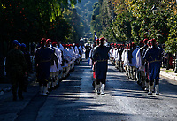 Pictured: Presidential Guards known as Tsoliades<br /> Re: Turkey's president Recep Tayyip Erdogan has begun a landmark visit to Greece. Thursday 07 December 2017