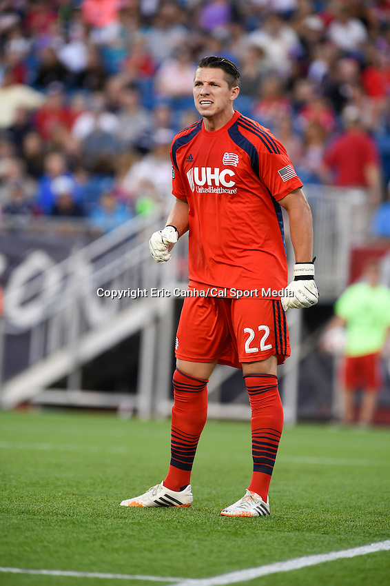 July 26, 2014 - Foxborough, Massachusetts, U.S. - New England Revolution goalkeeper Bobby Shuttleworth (22) watches the action on the pitch during the MLS game between the Columbus Crew and the New England Revolution held at Gillette Stadium in Foxborough Massachusetts.  Eric Canha/CSM