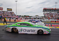 Aug 30, 2014; Clermont, IN, USA; NHRA pro stock driver Dave Connolly (near lane) races alongside Jason Line during qualifying for the US Nationals at Lucas Oil Raceway. Mandatory Credit: Mark J. Rebilas-USA TODAY Sports