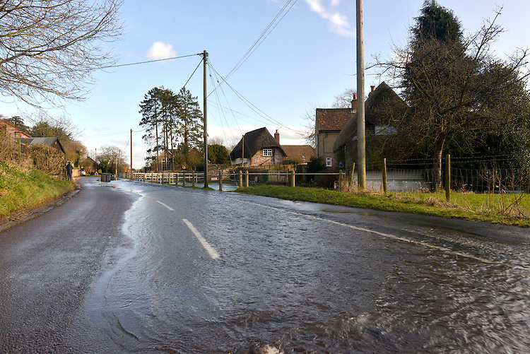 Flooding in the Hampshire Village of Hurstbourne Tarrant, winter 2014