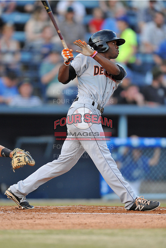 Delmarva Shorebirds center fielder Josh Hart #1 swings at a pitch during opening night game against the Asheville Tourists at McCormick Field on April 3, 2014 in Asheville, North Carolina. The Tourists defeated the Shorebirds 8-3. (Tony Farlow/Four Seam Images)