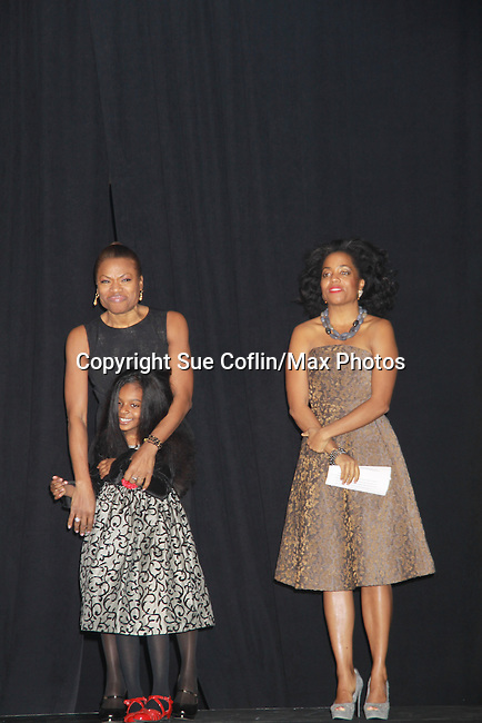 """As The World Turns Tamara Tunie is the mistress of Cerermonies with Deborah Koenigsberger and supported by Another World's Rhonda Ross at the 15th Annual Hearts of Gold's Fall Fundraising Gala """"Arabian Nights!"""" on November 3, 2011 at the Metropolitan Pavilion, New YOok City, New York. There was a coctail reception, silent auction, runway fashion show, and live auction which huge $s for Homeless mothers and children that Hearts of Gold Strives to support. (Photo by Sue Coflin/Max Photos)"""