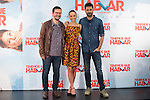 Actors Hugo Silva (R), Michelle Jenner and movie director David Serrano (L) pose during `Tenemos que hablar´ film presentation in Madrid, Spain. February 24, 2016. (ALTERPHOTOS/Victor Blanco)
