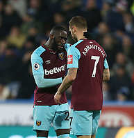 West Ham United's Marko Arnautovic and Arthur Masuaku celebrate<br /> <br /> Photographer Rob Newell/CameraSport<br /> <br /> The Premier League - Huddersfield Town v West Ham United - Saturday 13th January 2018 - John Smith's Stadium - Huddersfield<br /> <br /> World Copyright &copy; 2018 CameraSport. All rights reserved. 43 Linden Ave. Countesthorpe. Leicester. England. LE8 5PG - Tel: +44 (0) 116 277 4147 - admin@camerasport.com - www.camerasport.com