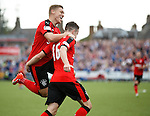 Andy Halliday celebrates his opener with Martyn Waghorn