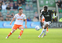 Blackpool's Jordan Thompson under pressure from Plymouth Argyle's Yann Songo'o<br /> <br /> Photographer Kevin Barnes/CameraSport<br /> <br /> The EFL Sky Bet League One - Plymouth Argyle v Blackpool - Saturday 15th September 2018 - Home Park - Plymouth<br /> <br /> World Copyright &copy; 2018 CameraSport. All rights reserved. 43 Linden Ave. Countesthorpe. Leicester. England. LE8 5PG - Tel: +44 (0) 116 277 4147 - admin@camerasport.com - www.camerasport.com