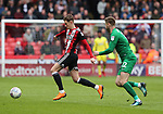 David Brooks of Sheffield Utd and Paul Gallagher of Preston North End during the championship match at the Bramall Lane Stadium, Sheffield. Picture date 28th April 2018. Picture credit should read: Simon Bellis/Sportimage