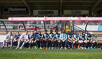 Brian Quinn poses with the Wycombe players during The Impractical Jokers (Hit US TV Comedy) filming at Wycombe Wanderers FC at Adams Park, High Wycombe, England on 5 April 2016. Photo by Andy Rowland.