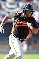Baltimore Orioles outfielder Cory Aldridge #90 runs to first during a spring training game against the Tampa Bay Rays at the Charlotte County Sports Park on March 5, 2012 in Port Charlotte, Florida.  (Mike Janes/Four Seam Images)