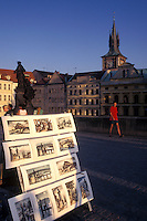 Prague, Charles Bridge, Czech Republic, Praha, Central Bohemia, Artwork displayed on Charles Bridge.