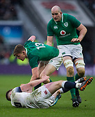 17th March 2018, Twickenham, London, England; NatWest Six Nations rugby, England versus Ireland; Garry Ringrose of Ireland is tackled by Owen Farrell of England