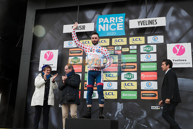 Jonathan Hivert (FRA) Total Direct Energie wears the first mountains Polka Dot Jersey on the podium at the end of Stage 1 of the 78th edition of Paris-Nice 2020, running 154km from Plaisir to Plaisir, France. 8th March 2020.<br /> Picture: ASO/Fabien Boukla | Cyclefile<br /> All photos usage must carry mandatory copyright credit (© Cyclefile | ASO/Fabien Boukla)