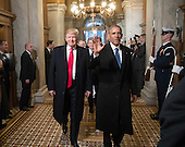 United States President-elect Donald Trump and US President Barack Obama arrive for Trump's inauguration ceremony at the Capitol in Washington, Friday, Jan. 20, 2017.<br /> Credit: J. Scott Applewhite / Pool via CNP