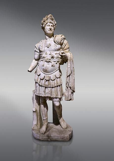 Roman statue of Emperor Hadrian. Marble. Perge. 2nd century AD. Inv no 3730-3728. Antalya Archaeology Museum; Turkey.