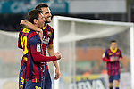 FC Barcelona's Leo Messi (l) and Cesc Fabregas celebrate goal during La Copa match.February 12,2014. (ALTERPHOTOS/Mikel)