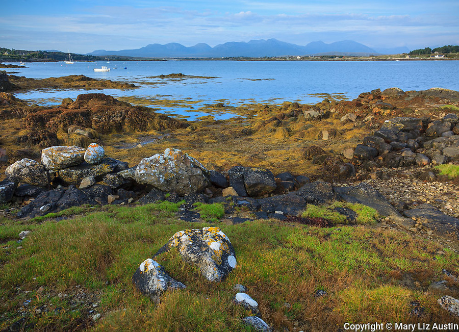 County Galway, Ireland: Tidal marsh at low tide in Bertraghboy Bay near the village of Roundstone with mountains of the Connemara in the distance