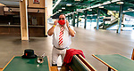 Bugler Sam Grossman at Belmont race track in Elmont, New York, USA, 20 June 2020. The Belmont is being run without fans due to coronavirus SARS-CoV-2 which causes the Covid-19 disease and while it has always been the third leg of the Triple Crown, due to Covid-19 it is, instead the first leg in 2020.