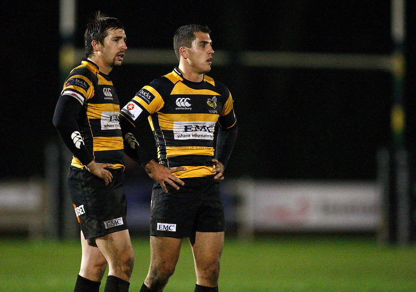 Photo: Richard Lane/Richard Lane Photography. Wasps A v Saracens Stormers. Aviva A League. 28/11/2011. Wasps' Charlie Ingall and Jack Wallace (rt).
