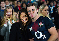 George Ford of England poses for a photo with his girlfriend after the match. Old Mutual Wealth Series International match between England and Argentina on November 26, 2016 at Twickenham Stadium in London, England. Photo by: Patrick Khachfe / Onside Images