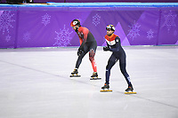 OLYMPIC GAMES: PYEONGCHANG: 20-02-2018, Gangneung Ice Arena, Short Track, Heats 500m Men, Charles Hamelin (CAN), Daan Breeuwsma (NED), ©photo Martin de Jong
