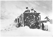 Head-on view of RGS rotary #2 with men shoveling snow at sides of plow in Telluride yard.<br /> RGS  Telluride, CO