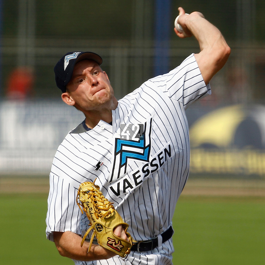 03 September 2011: Starting pitcher Honza Rehacek of the Vaessen Pioniers pitches against L&D Amsterdam Pirates during game 1 of the 2011 Holland Series won 5-4 in inning number 14 by L&D Amsterdam Pirates over Vaessen Pioniers, in Hoofddorp, Netherlands.