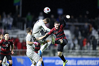CARY, NC - DECEMBER 13: Dante Polvara #17 of Georgetown University and Gabe Segal #17 of Stanford University challenge for a header during a game between Stanford and Georgetown at Sahlen's Stadium at WakeMed Soccer Park on December 13, 2019 in Cary, North Carolina.