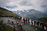 French Champio Warren Barguil (FRA) Arkea-Samsic, Rigoberto Uran (COL) EF Education First, Laurens De Plus (BEL) Jumbo-Visma and Vincenzo Nibali (ITA) Bahrain-Merida lead the race up the Col d'Iseran during Stage 19 of the 2019 Tour de France originally running 126.5km from Saint-Jean-de-Maurienne to Tignes but cut short to 88.5 km, France. 26th July 2019.<br /> Picture: ASO/Pauline Ballet | Cyclefile<br /> All photos usage must carry mandatory copyright credit (© Cyclefile | ASO/Pauline Ballet)