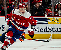 WASHINGTON, DC - JANUARY 31: Dmitry Orlov #9 of the Washington Capitals  on the attack during a game between New York Islanders and Washington Capitals at Capital One Arena on January 31, 2020 in Washington, DC.