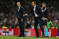 Real Madrid Manager Zinedine Zidane and Juventus Manager Massimiliano Allegri during the UEFA Champions League Final match between Juventus and Real Madrid at the Principality Stadium on June 3rd 2017 in Cardiff, Wales. <br /> <br /> Foto Daniel Chesterton / Panoramic / Insidefoto