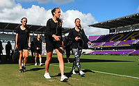 Orlando, FL - Saturday October 14, 2017: Portland Thorns FC during the NWSL Championship match between the North Carolina Courage and the Portland Thorns FC at Orlando City Stadium.