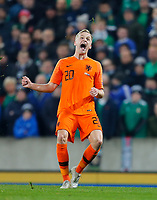 16th November 2019; Windsor Park, Belfast, Antrim County, Northern Ireland; European Championships 2020 Qualifier, Northern Ireland versus Netherlands; Donny van de Beek of Netherlands reacts to putting the ball over the crossbar - Editorial Use