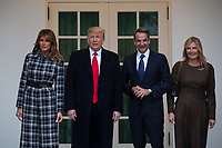 United States President Donald J. Trump, center left, and First lady Melania Trump, left, stand for photographs with Prime Minister of Greece Kyriakos Mitsotakis, center right, and his wife Mareva Grabowski, right, outside of the White House in Washington, D.C., U.S., on Tuesday, January 7, 2020.<br /> <br /> Credit: Stefani Reynolds / CNP/AdMedia
