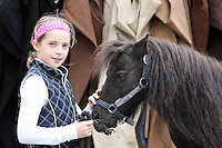 3/8/2010. Zarah Kelly aged 7 from Sligo is pictured at the RDS  getting her horse Dixie ready for the start of the Fáilte Ireland Dublin Horse show. Picture James Horan/Collins Photos