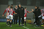 Alan Knill greets the players during the Checkatrade Trophy match at Blundell Park Stadium, Grimsby. Picture date: November 9th, 2016. Pic Simon Bellis/Sportimage