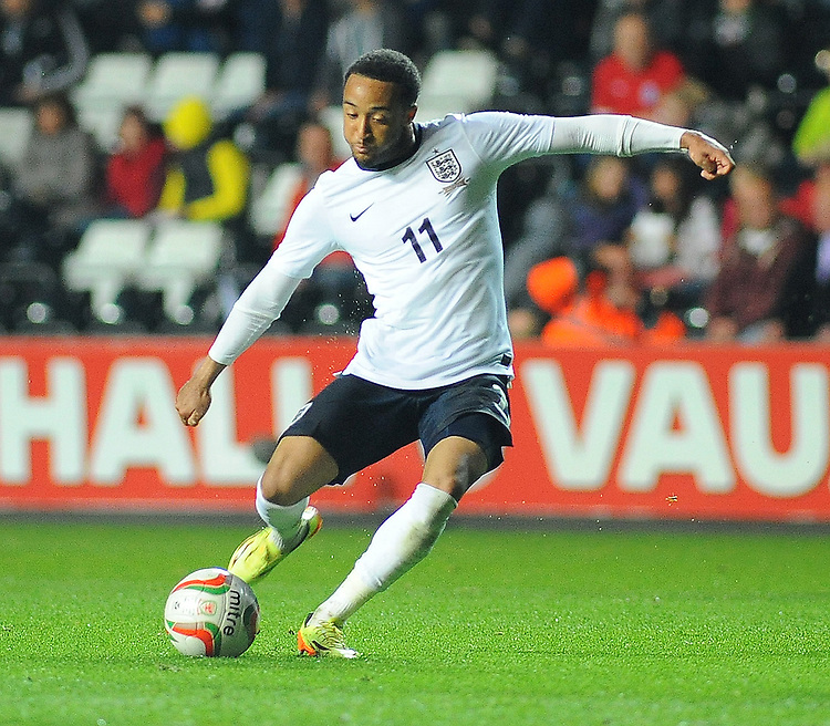 England's Nathan Redmond scores his sides third goal <br /> <br /> Photographer Kevin Barnes/CameraSport<br /> <br /> International Football - UEFA European U21 Championship Group One Qualifier - Wales U21s v England U21s - Monday 19th May 2014 - Liberty Stadium - Swansea City FC - Swansea<br /> <br /> &copy; CameraSport - 43 Linden Ave. Countesthorpe. Leicester. England. LE8 5PG - Tel: +44 (0) 116 277 4147 - admin@camerasport.com - www.camerasport.com