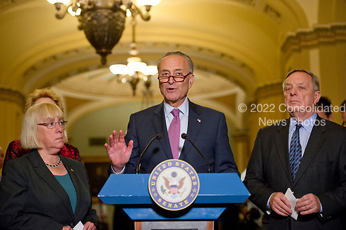 United States Senate Minority Leader Chuck Schumer (Democrat of New York) speaks to reporters following the Democratic Party luncheon in the United States Capitol in Washington, DC on Tuesday, June 27, 2017.  From left to right: US Senator Patty Murray (Democrat of Washington), Leader Schumer, and US Senate Minority Whip Dick Durbin (Democrat of Illinois).<br /> Credit: Ron Sachs / CNP
