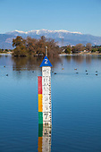 Water level gauge at Rio Hondo Spreading Grounds, Water Replenishment District – WRD, Pico Rivera, Los Angeles County