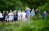 Jon Rahm (ESP) watches his tee shot on 10 during round 1 of the Shell Houston Open, Golf Club of Houston, Houston, Texas, USA. 3/30/2017.<br /> Picture: Golffile | Ken Murray<br /> <br /> <br /> All photo usage must carry mandatory copyright credit (&copy; Golffile | Ken Murray)