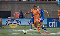Sky Blue FC midfielder Rosana (11) attempts to control the ball as Boston Breakers forward/midfielder Kelly Smith (10) closes. Sky Blue FC defeated the Boston Breakers, 2-1, at Harvard Stadium on June 13, 2010.
