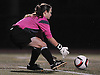 Suffolk Team goalie Megan Ricci (Center Moriches HS) controls a loose ball during the second of two Long Island varsity girls' soccer senior all-star games against Nassau at Bethpage High School on Friday, November 27, 2015.<br /> <br /> James Escher