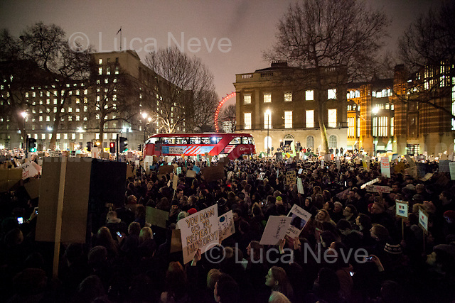 Trapped...<br /> <br /> London, 30/01/2017. Today, tens of thousands of people (Turnout still unclear: some mainstream media - National and Internationals - reported &quot;Hundreds&quot;, some &quot;Thousands&quot;, some &quot;Ten Thousand&quot;, some &quot;Tens of Thousands&quot;) gathered in Whitehall to protest against Donald Trump's (so-called) &quot;Muslim Ban&quot; (From Wikipedia: &lt;&lt;&quot;Protecting the Nation from Foreign Terrorist Entry into the United States&quot; is an executive order signed by U.S. President Donald Trump on January 27, 2017. The order, part of Trump's immigration-related campaign promises, suspends the U.S. Refugee Admissions Program - USRAP - for 120 days, after which the program will be conditionally resumed for individual countries. The executive order also suspends entry, regardless of valid non-diplomatic visa, by alien nationals of Iraq, Iran, Libya, Somalia, Sudan, Syria and Yemen for 90 days, after which an updated list of prohibited countries will be determined. Further, the order suspends entry of refugees from Syria indefinitely [...]&gt;&gt;. Similar demos were held in several other cities across the UK. From the organisers Facebook event page (https://goo.gl/UEwfOf): &lt;&lt;[&hellip;] Donald Trump has imposed a ban on people from seven Muslim-majority countries from entering the US. That includes people who helped the US army [&hellip;] people on holiday trying to get home via the US [&hellip;] people trying to be reunited with their dying parents [&hellip;] Britons with dual nationality. Like our national hero Mo Farah. Even the Iraq-born Conservative MP Nadhim Zahawi. Theresa May has decided to ally herself with Donald Trump's bigoted, misogynistic government. She has refused to speak out against Donald Trump's #MuslimBan. [&hellip;] There are moments of terrible injustice throughout history where we look back and rightly ask - what did people do? Future generations will look back at the targeting of Muslims - as we