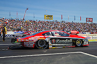Jun 7, 2015; Englishtown, NJ, USA; NHRA pro stock driver V. Gaines during the Summernationals at Old Bridge Township Raceway Park. Mandatory Credit: Mark J. Rebilas-