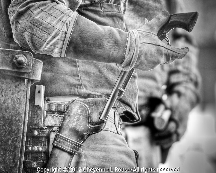 Quick draw - gunfighter in Arizona. Black and White