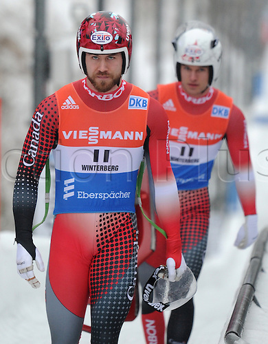 20.02.2016. Winterberg, Germany.  Tristan Walker (front) and Justin Snith (back)of Canada finish eighth in the men's two-seater event at the Luge World Cup in Winterberg, Germany, 20 February 2016.